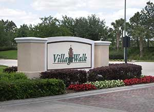 Lake Nona Village Walk sign on Lake Nona Blvd
