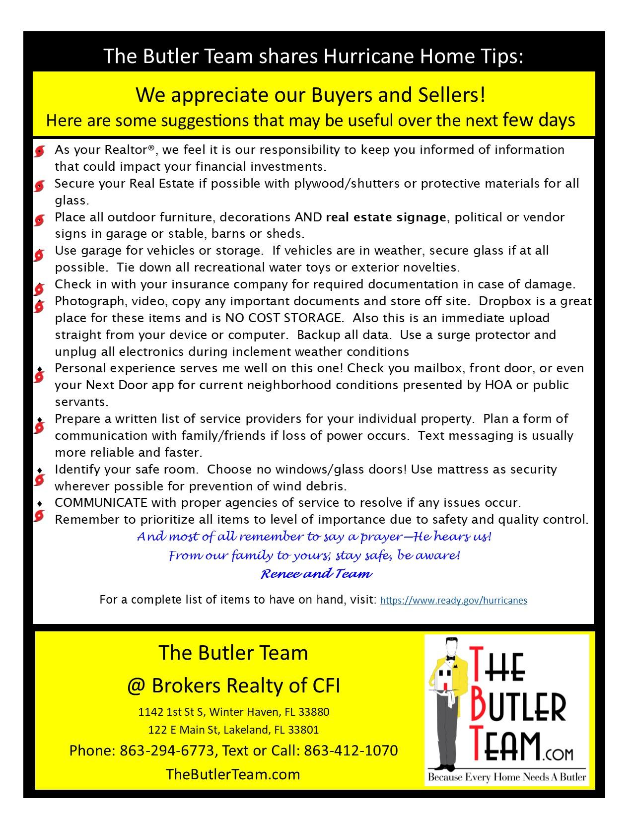 the Butler team shares Hurricane Home Tips