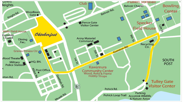 Fort Belvoir Oktoberfest Map