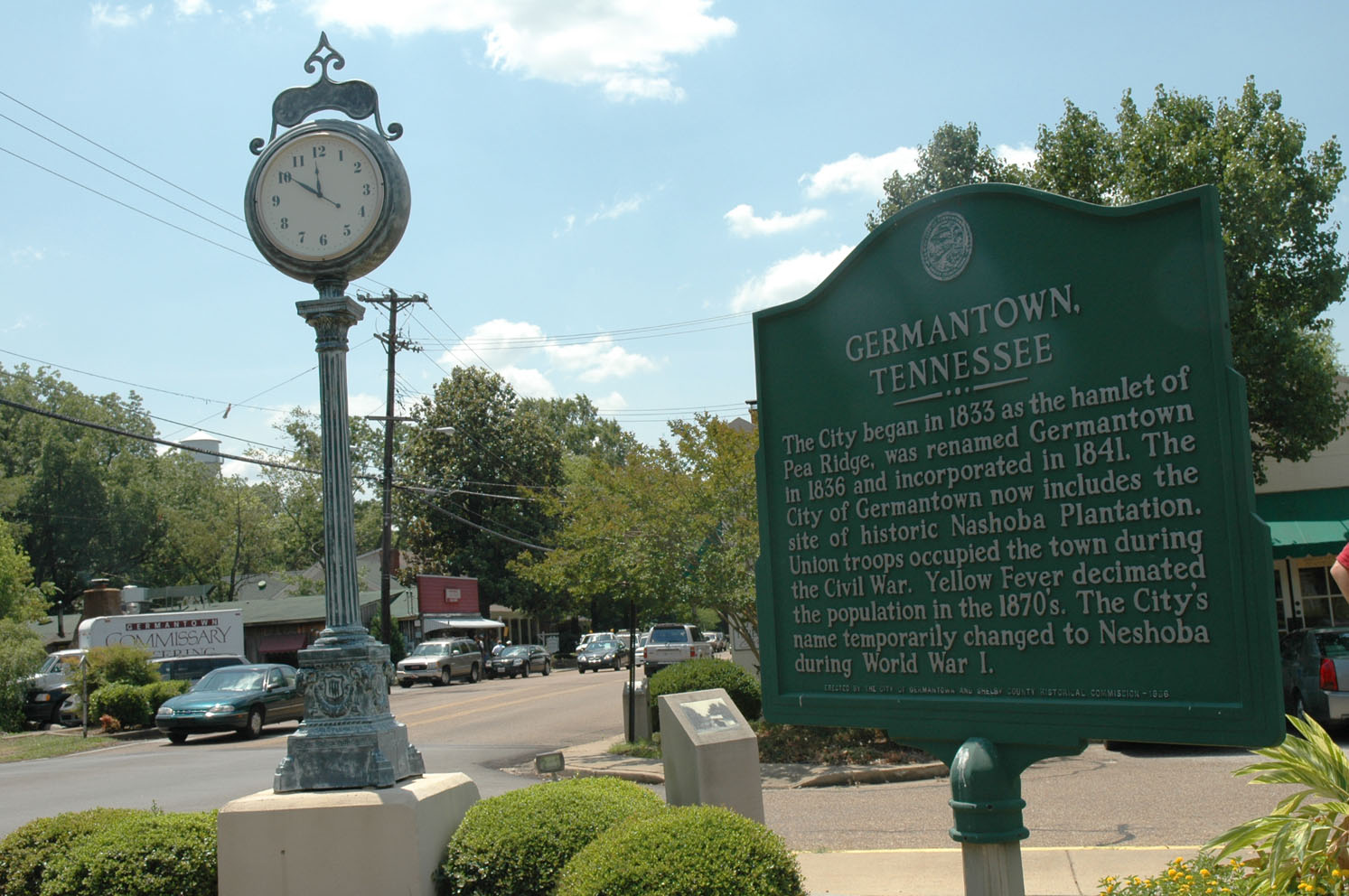 The historic downtown located near homes for sale in Germantown, TN