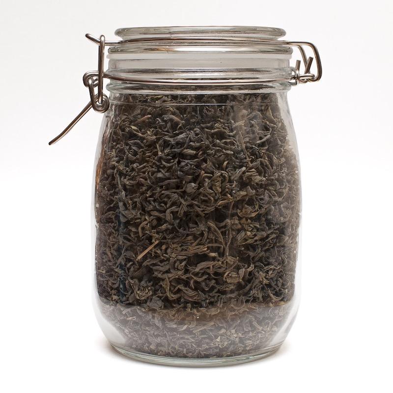 Storing Dried Tea Leaves in a Jar