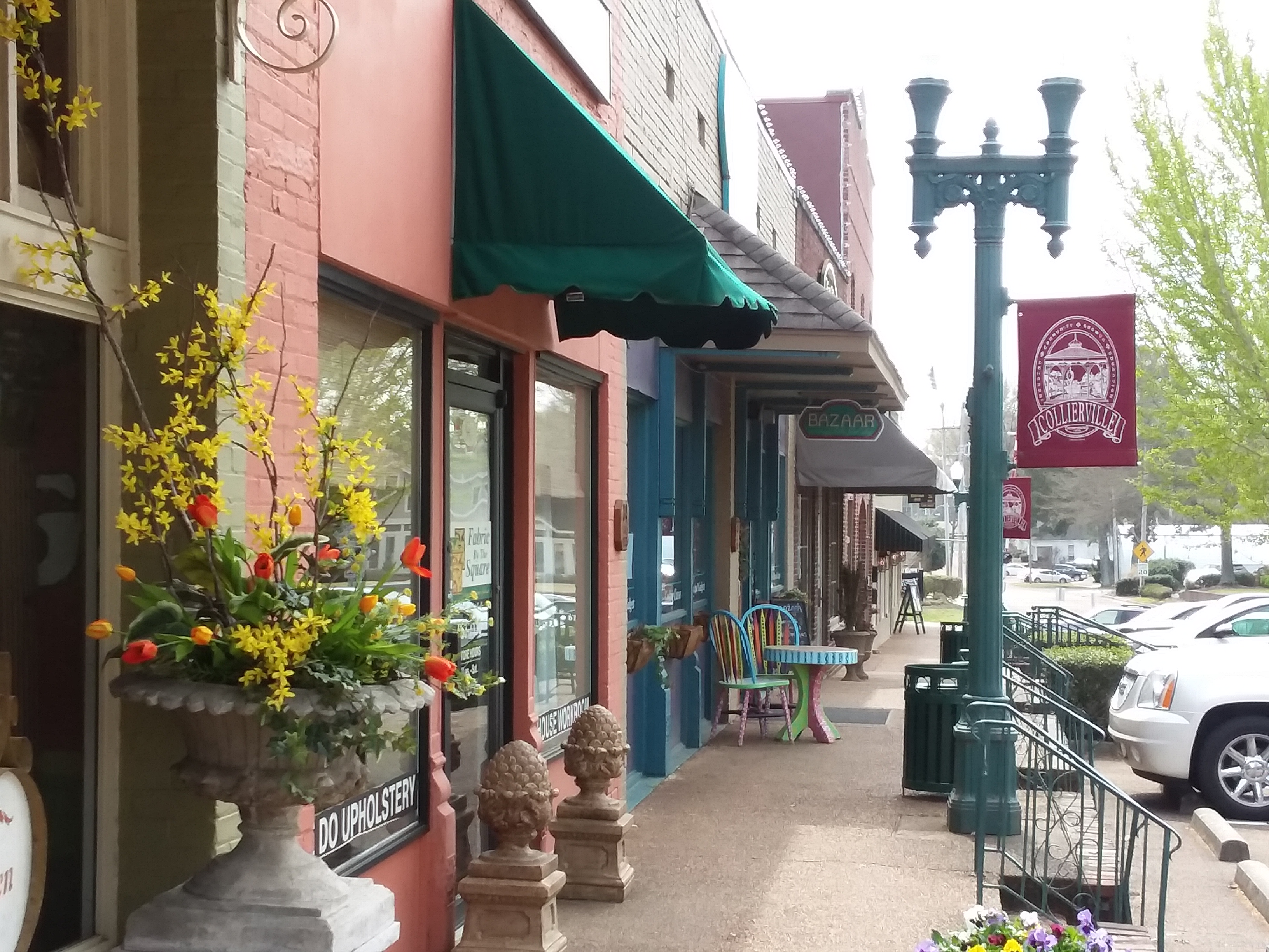 bustling main street convenient to homes for sale in Collierville, TN