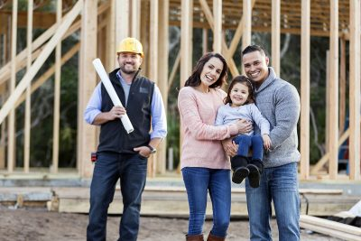 Family building a new home