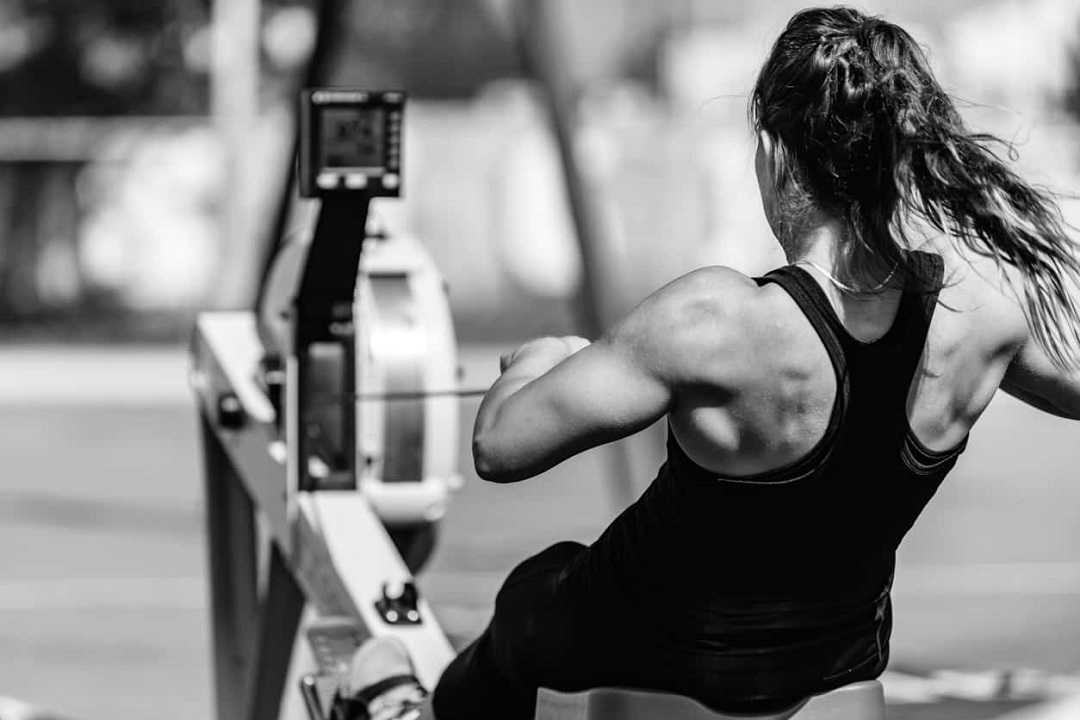 Girl rowing at Kelowna Crossfit
