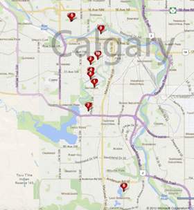 Map of Calgary's Top 10 Most Expensive Homes Sold in 2014