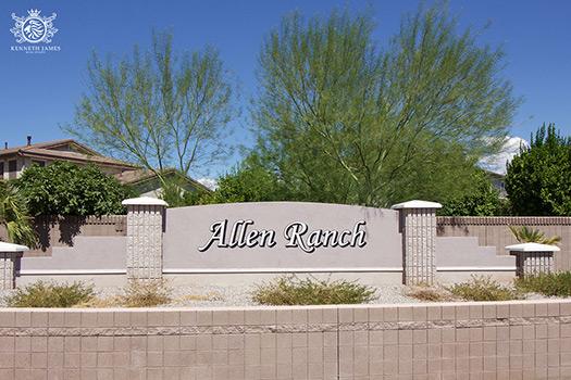 The main entrance to Allen Ranch in Gilbert, Arizona