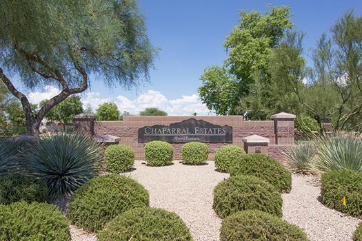 The entrance to Chaparral Estates in Gilbert, Arizona