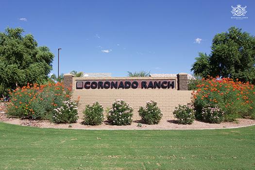 The main entrance to Coronado Ranch in Gilbert, Arizona