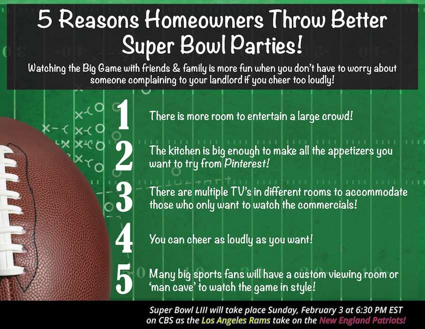 5 Reasons Homeowners Throw the Best Super Bowl Parties!
