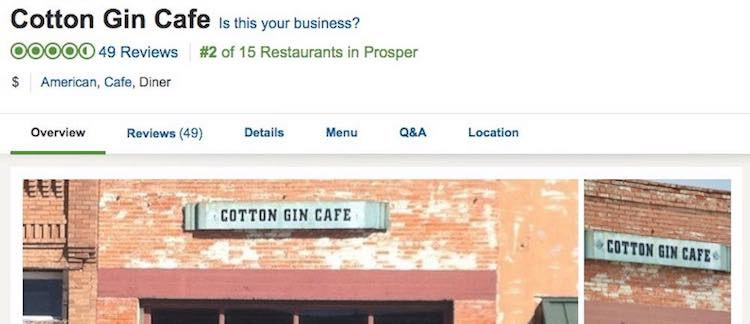 Cotton Gin Cafe on Trip Advisor