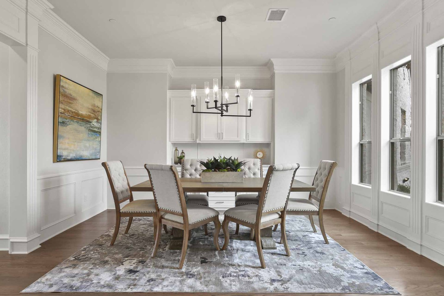 The dining room of an Amberwood Farm home
