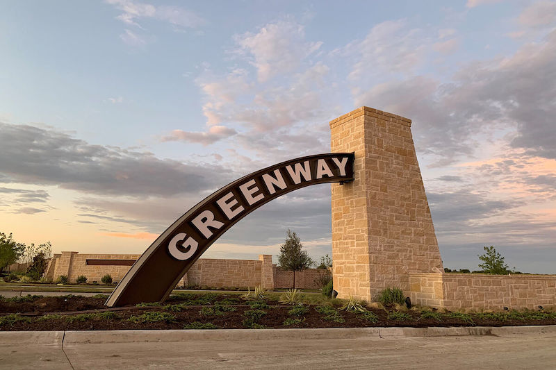 The entrance to greenway in celina tx