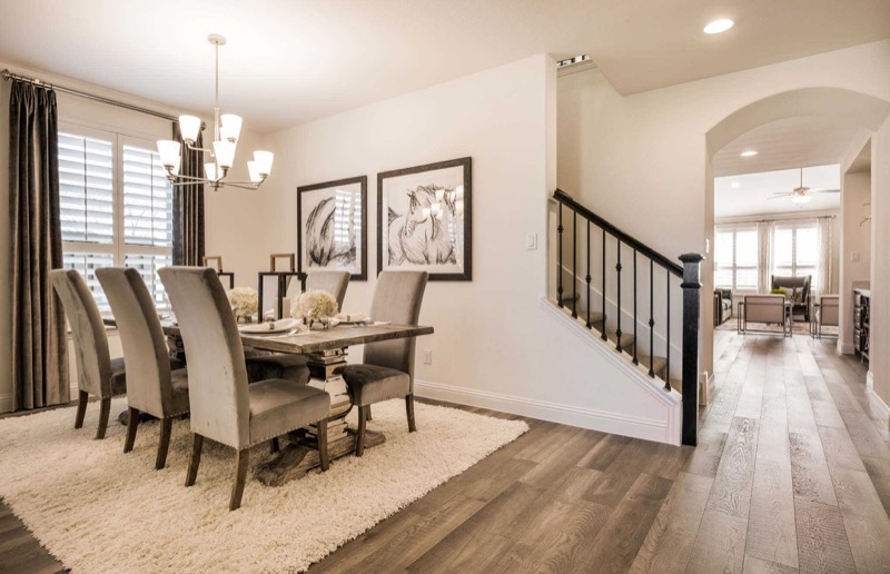 The dining room in the Highland Homes model in Light Farms