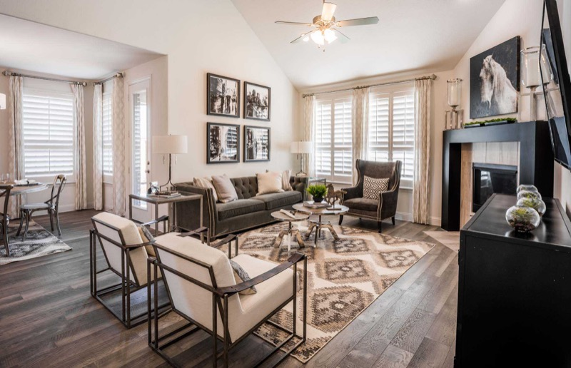 The family room in the Highland Homes model in Light Farms