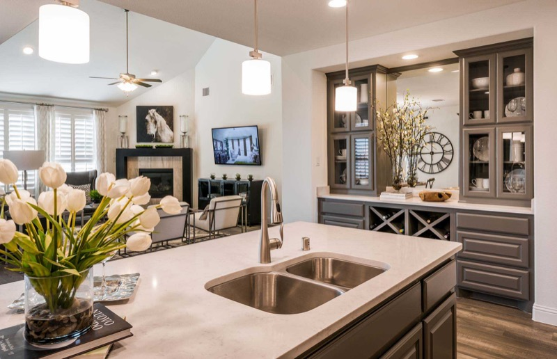 The kitchen in the Highland Homes model in Light Farms