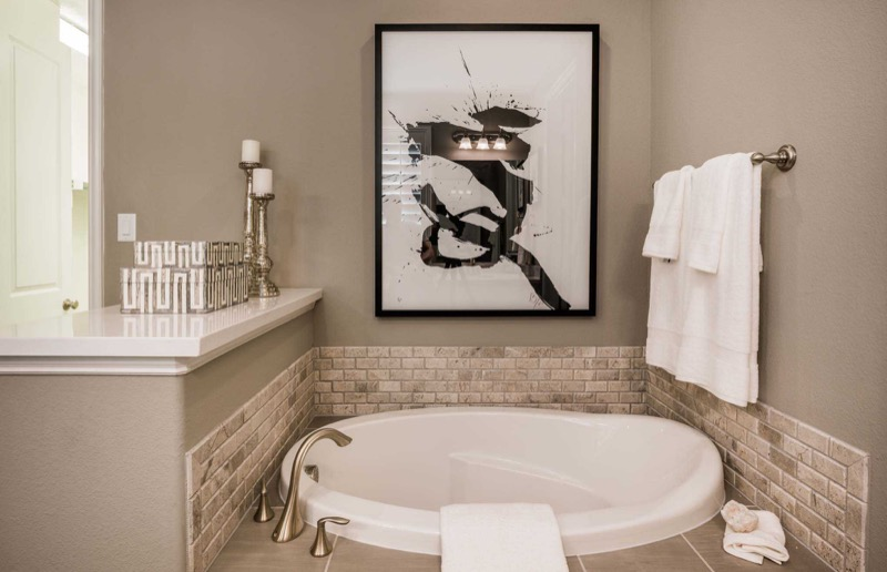 The master bath  in the Highland Homes model in Light Farms