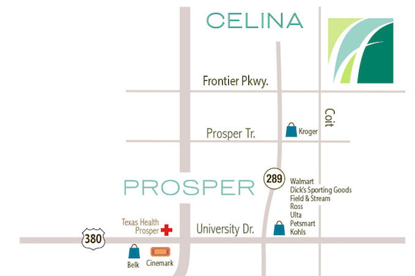 The map to Lilyana in Celina Tx
