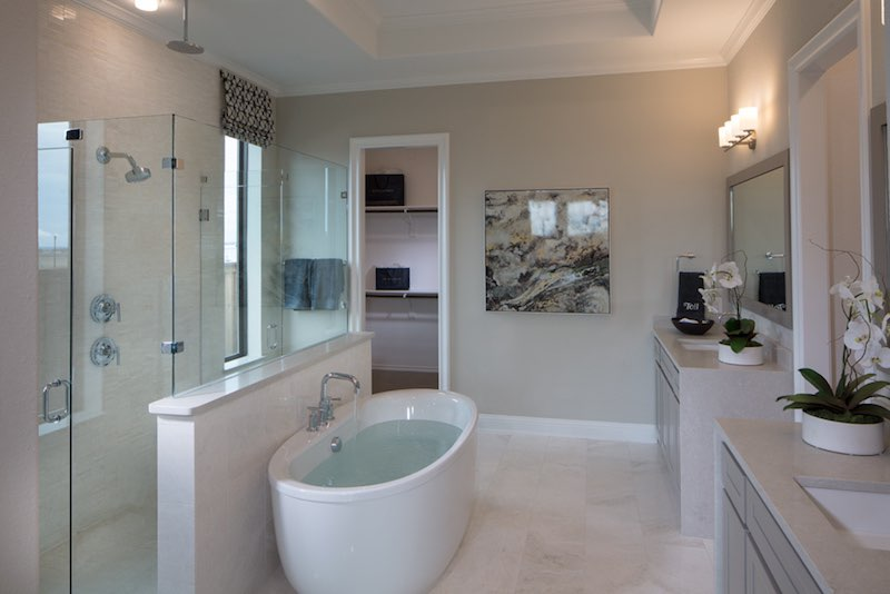 The master bathroom in the Toll Brothers Model at Star Trail Prosper Tx