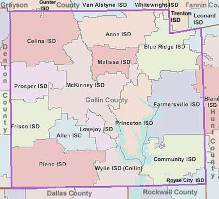 School Districts of Collin County Map