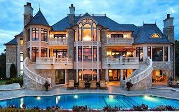 Atlanta luxury property with pool in evening.