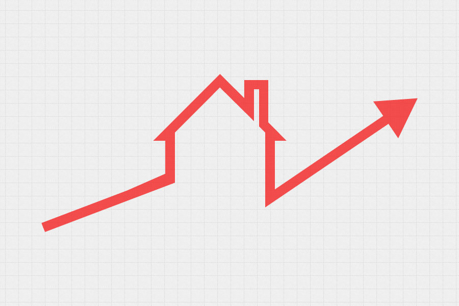 Home values on the rise with red arrow