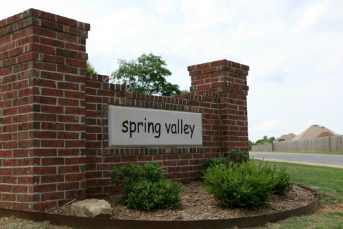 Entrance to Spring Valley Subdivision In Conway AR