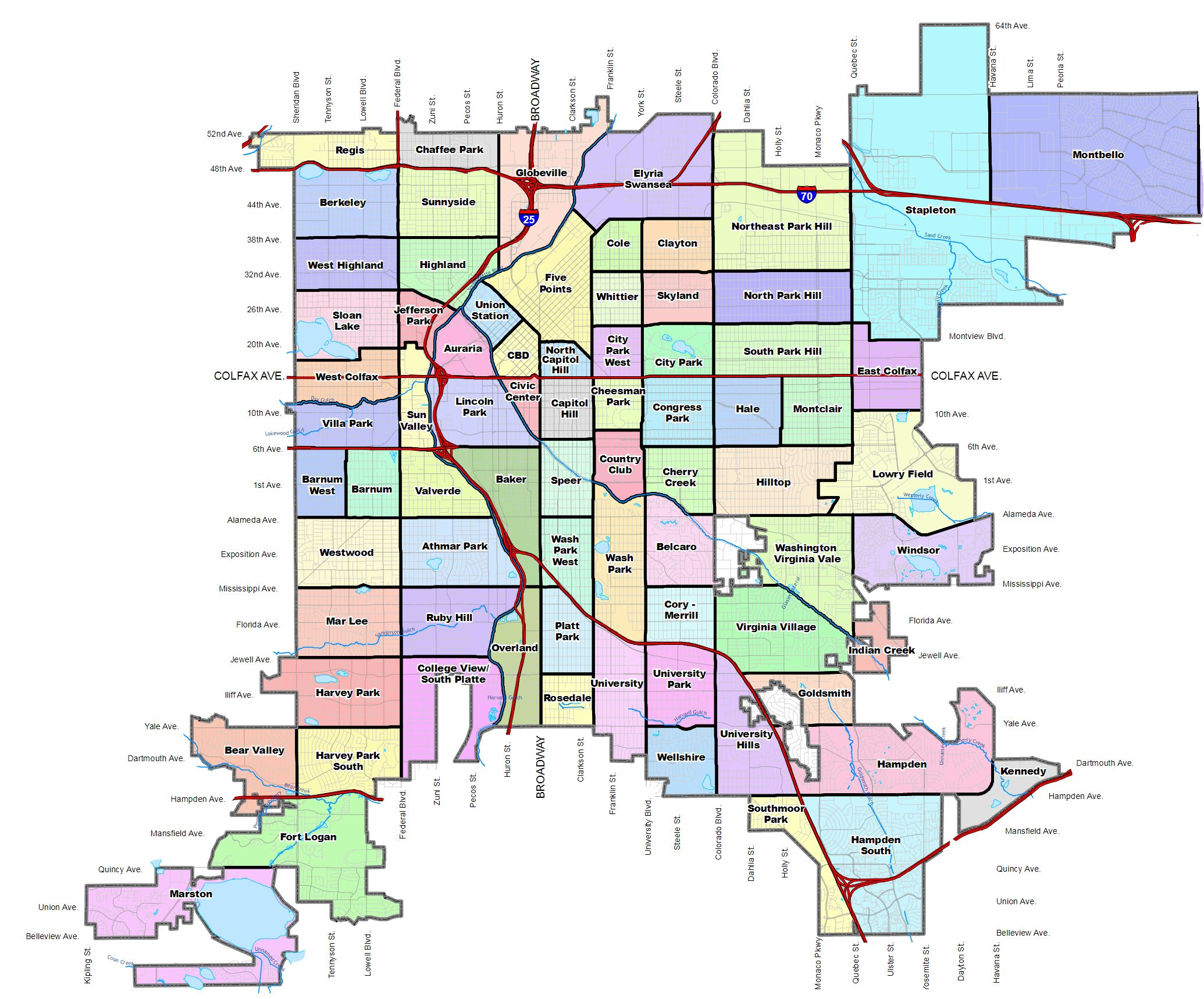 Map of Denver neighborhoods