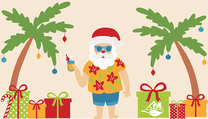 Christmas Santa Clause At The Beach