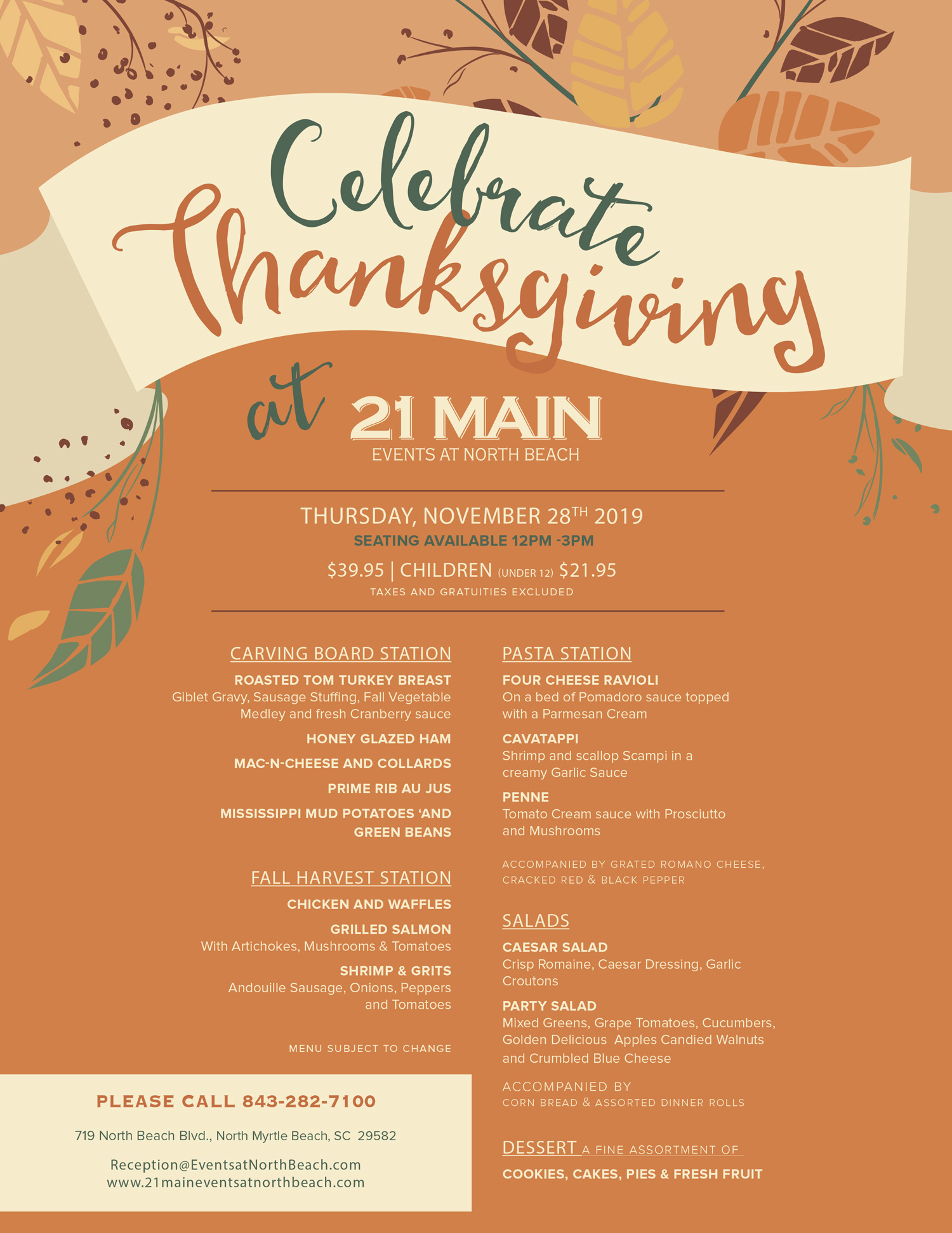 Thanksgiving menu at 21 Main Events in North Myrtle beach