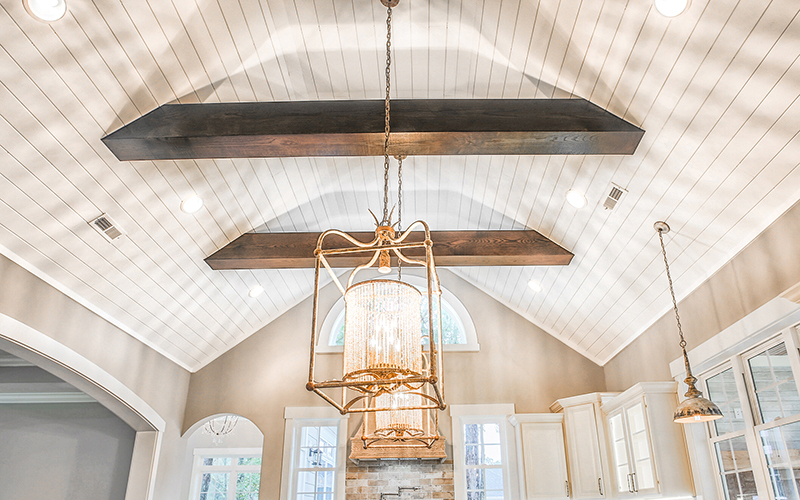 Reclaimed exposed beams adding characted to home