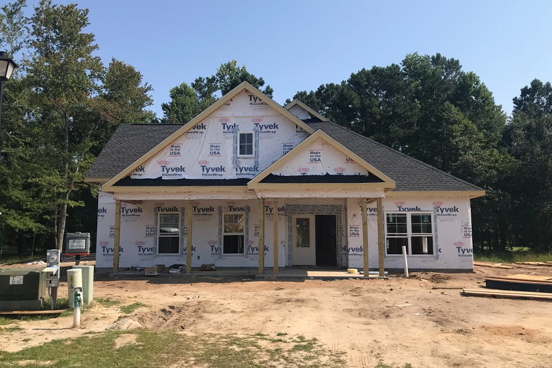 Progress photo of custom home construction