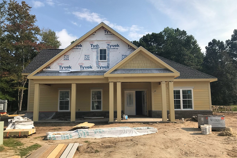 Progress of exterior home under construction