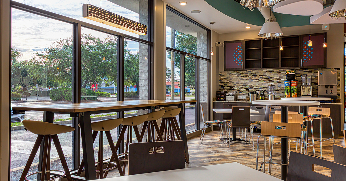 interior seating area at Cafe gelato