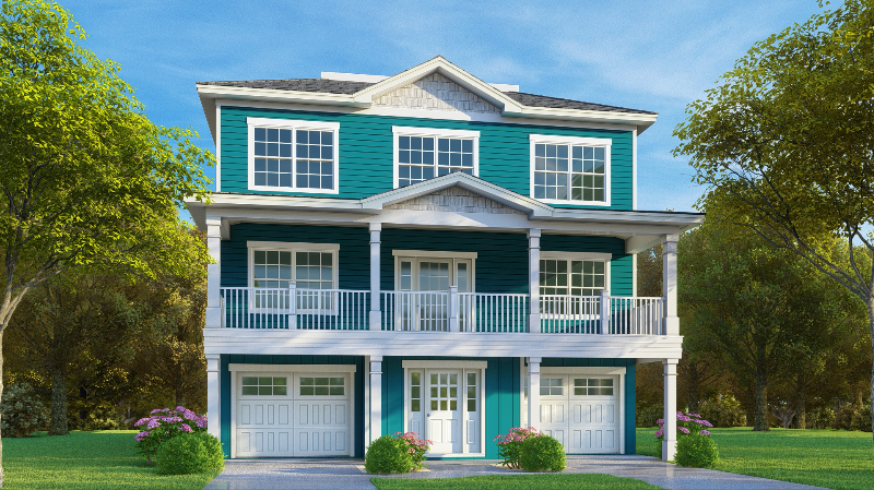 Rendering of new custom raised beach home in surfside