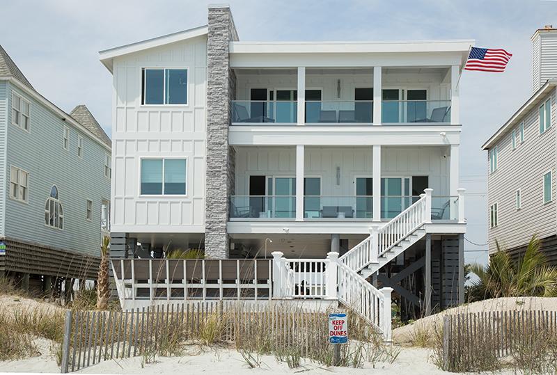 Rear beach side of Garden City Modern Oceanfront home