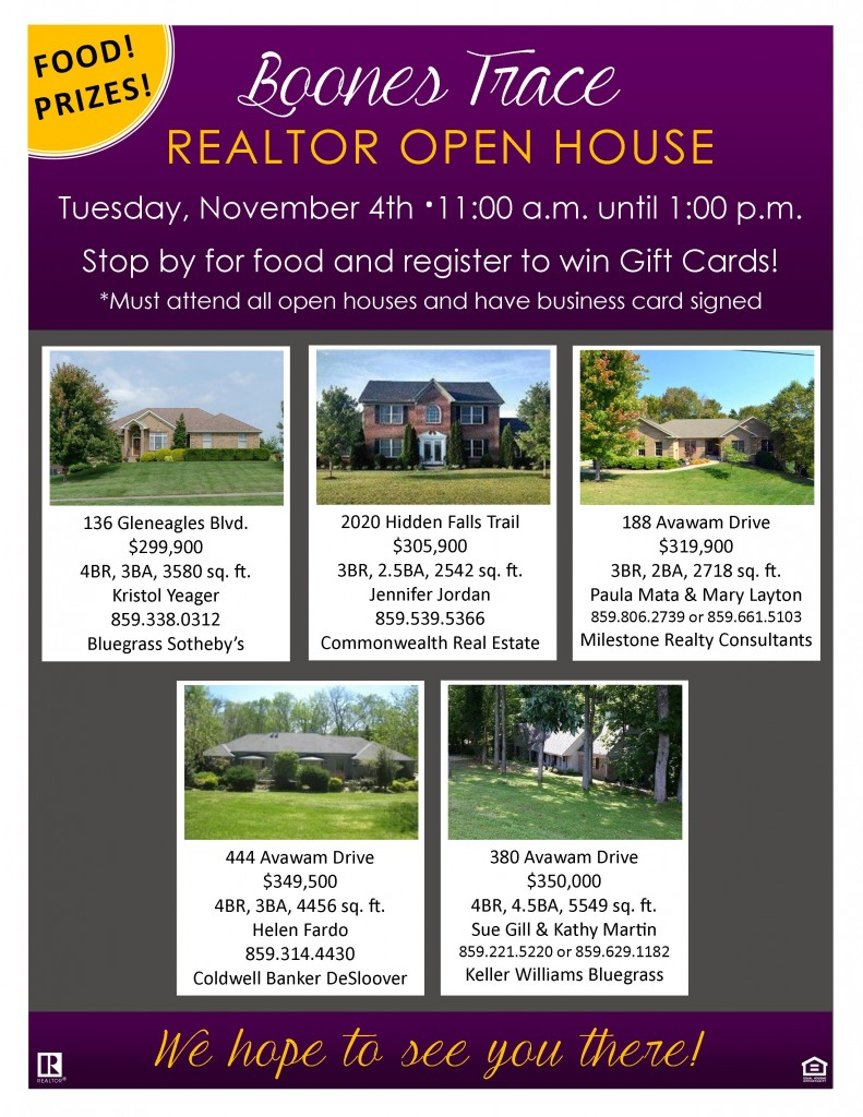 Boones Trace Realtor Open House Flyer