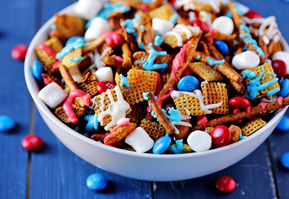 Red White and Blue Chex Mix