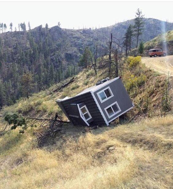 falling tiny house